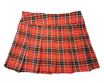 Red Tartan Plaid 90s Club kid mini skirt / Punk Goth Grunge