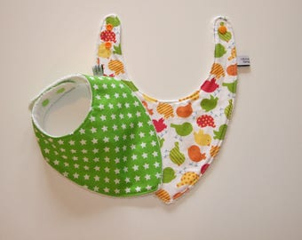Birds and Star print bandana bib in green, orange and yellow tones