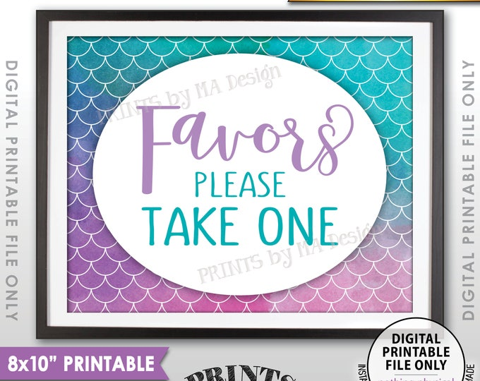 "Mermaid Party Sign, Mermaid Favors, Sign, Please Take One Mermaid Sign, Mermaid Birthday, Watercolor Style PRINTABLE 8x10"" Instant Download"