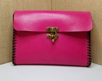 Handmade Pink, Gold & Brown Leather Clutch - Leather Handbag