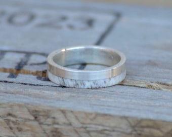 Women's Wedding Band: Natural Shed Elk Antler Inlaid into Silver Band. Stag Hound, Elk Head Design