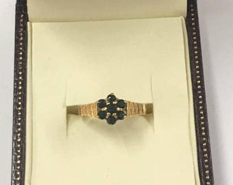 18ct Yellow Gold Sapphire Flower Ring Size N