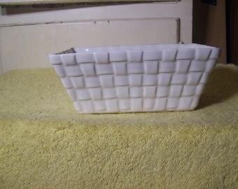 Vintage Brush/McCoy Basketweave White Planter #1087