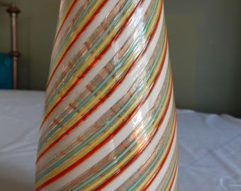 Rare Dino Martens for Aureliano Toso Mezza Filigrana Murano Art Glass Vase with Gold Aventurine