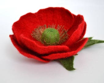 Red poppy flower Poppy brooch Felted red flower Poppy blossom Felt Poppy Brooch Poppy Pin Felt Flower Brooch Floral jewelry Valentines gift