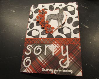 """Great Dane Sympathy Card, """"SO SORRY"""", """"so sorry you're hurting"""", """"Our caring thoughts are with you during this difficult time."""""""