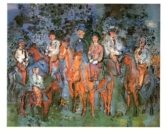 """Riders in the Forest by Raoul Duffy. These Bookplates are copy write 1966. The pages are approx. 11"""" wide and 15"""" tall."""