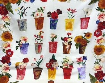 GUCCI authentic vintage 1980s 1990s flowers pot print silk scarf