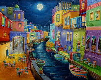 Original oil painting Thousand & one Night, Venice Architecture, city escape expressionism artwork