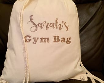 Personalised Glitter Gym Bag, Sports Bag, Ballet Bag, Back to School, Gym Sac, Personalised Sports Bag