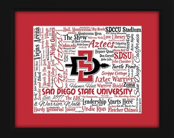 San Diego State University (SDSU) 16x20 Art Piece - Beautifully matted and framed behind glass