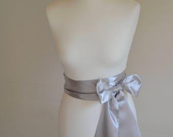 Silver grey sash, Wedding sash, bridal sash, flower girl sash, ivory sash, silver grey sash, wedding belt, bridal belt, satin sash, bow sash