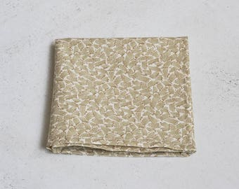Ivory and Olive Dash Pocket Square