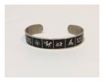 Vintage Zodiac Metal Cuff Bracelet