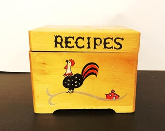 Vintage Japanese Folk Art Rooster Hand Painted Wooden Recipe Box