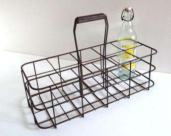 Vintage Metal Bottle Rack for 10 Bottles - French Antique Bottle Holder - Bottle Basket
