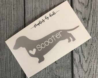 Personalized Dachshund Decal - ANY Dog - Personalized Dog - Vinyl Decal