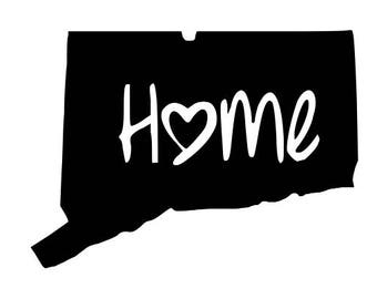 Connecticut Decal, YOU PICK COLOR,  Connecticut Home Decal, Conneticut Car Decal,  Connecticut Window Sticker,  Connecticut Sticker