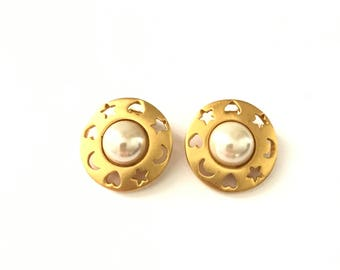 Vintage Gold Plated Faux Pearl Earrings with Sun, Moon, and Star Cutouts