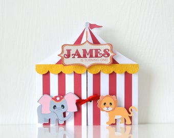 Carnival Invitations: circus party, animal party, safari, wild soiree, red and white baby birthday - LRD054P