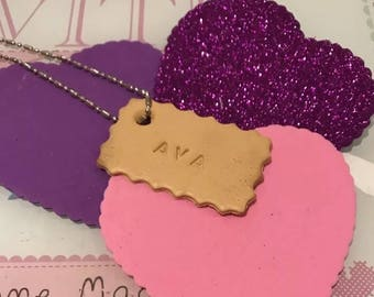 Personalised Biscuit cookie necklace tag