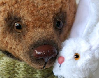 """Big bear Teddy, Paramon and Tyupa, large bear,17,7"""", 45 cm, artist teddy bear, bear and banny, artist bears, OOAK, Handmade, collectible"""