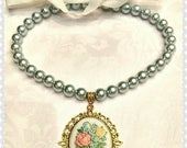Necklace soul of  spring, blue perl, white ribbon