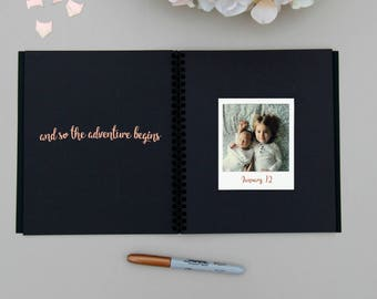 Fast Shipping > Baby Memory Book Embossed Rose Gold Foil. Ideal Baby Shower Gift, Baby Gift, Baby Shower, Baby Album, Keepsake Baby Book.