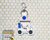 Golf Cart with Clubs snap tab keychain - utility key fob design - Father's Day gift idea - machine embroidery keychain design 06 02 2017