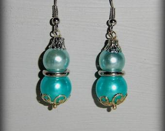 blue turquoise bubble wedding earring