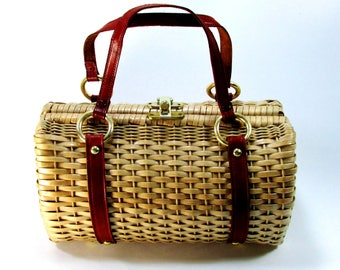 Wicker Barrel Purse British Hong Kong 1950s Medium Leather Strap Barrel Satchel