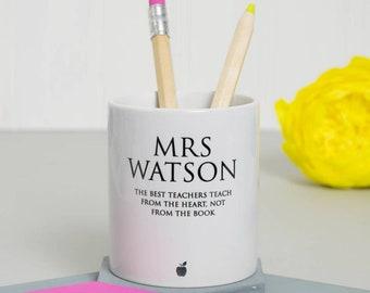 Classic Teacher's Pen Pot - Gift for Teacher - Personalised - Office Gift