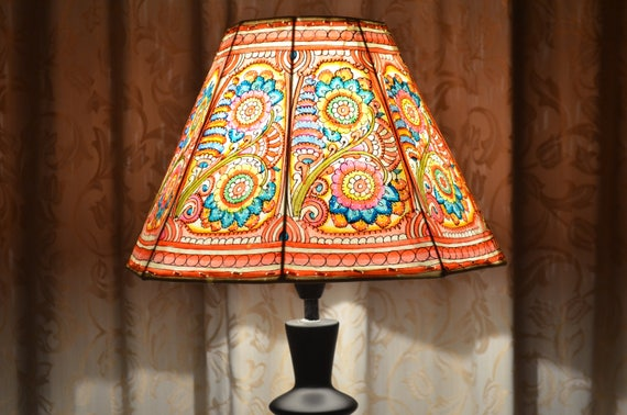 Multi colour leather lampshade medium lampshade floral like this item aloadofball Images