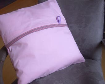 Pillow soft gingham pink and gray