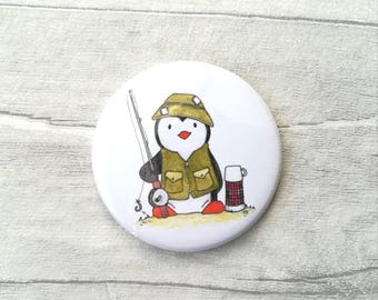 Fishing penguin magnet, little penguin fisherman kitchen gift.