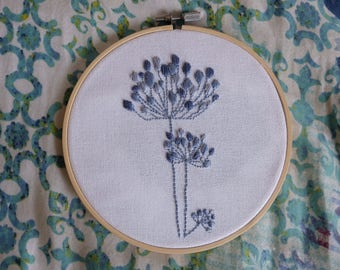 Blue and Grey Embroidered Design