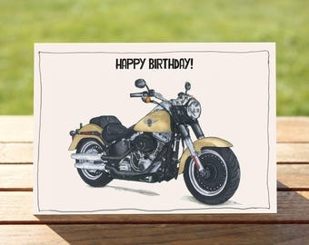 "Motorcycle Birthday Card | Harley Davidson Fat Boy | A6 - 6"" x 4"" / 103mm x 147mm 