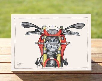 """Motorcycle Gift Card - Cafe Racer portrait 