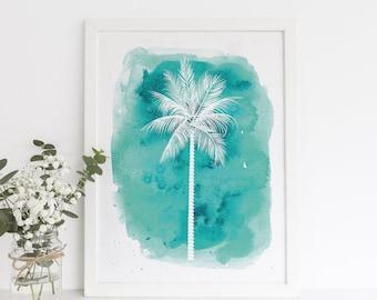 Teal Art Print, Palm Tree Print, Turquoise Decor, Beach Nursery, Beach  Nursery