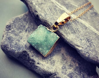 The Drussy Necklace // Natural Drussy  Stone on a Gold Fill Chain // Boho Hippie Layering Necklace