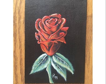 5 Inch x 7 Inch Acrylic Hand Painted Canvas Board Red Rose Painting