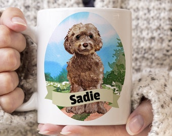 Brown Cockapoo Custom Dog Mug - Get your dogs name on a mug - Dog Breed Mug - Great gift for dog owner - Brown Cockapoo mug