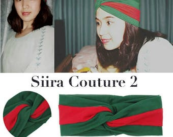 Gucci inspired navy red green headbands scarf wraps bandanas