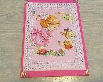 Baby girl card, congratulations baby card, newborn card, girl birthday card, baby shower card, Girl and teddy, baby birthday
