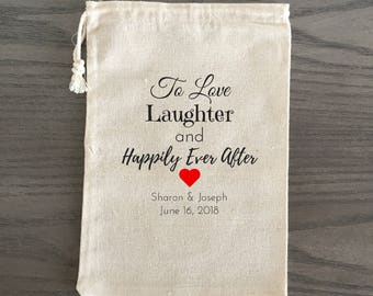 10 Wedding Favors, Bachelorette Party Favor, Hangover Kit, Survival Kit, Birthday Favor Custom - To Love, Laughter, and Happily Ever After