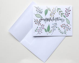 """Hand Lettered """"Congratulations"""" Greeting Card"""