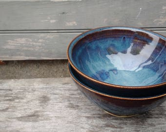 Blue Cereal Bowl Set of Two, Handmade Ceramic, Ready to Ship