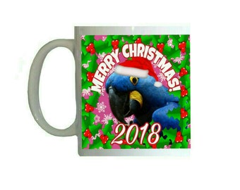 Merry Christmas 2018 Hyacinth Macaw Parrot with Santa Hat 11oz Ceramic Coffee Mug