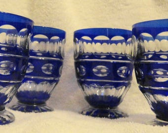 "Cobalt  cut to clear,set of 4 wine,sherry,juice glasses 3.75""H x 2.5""W 2.75""D ex used cond. No dings or chips very vivid color"