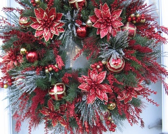 XL Handmade Red Sparkly Poinsettia Wreath Bling Bling Wreath Winter Wreath Holiday Wreath Christmas Wreath Front Door Wreath